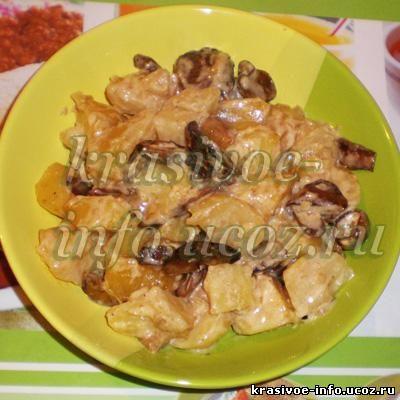 Картошка тушенная с грибами вторые